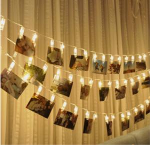 LEDストリングライト 20LED写真/絵クリップ DIY吊り下げる飾り 3M イルミネーションライト