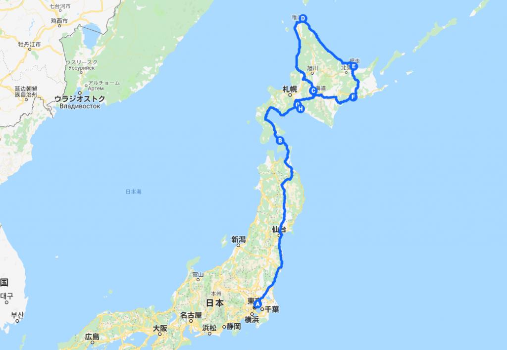 北海道一周車中泊旅 走行ルート