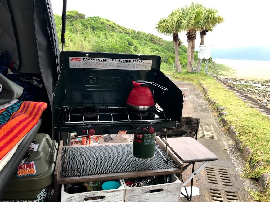 車中飯:自作スライドキッチンにて車中飯
