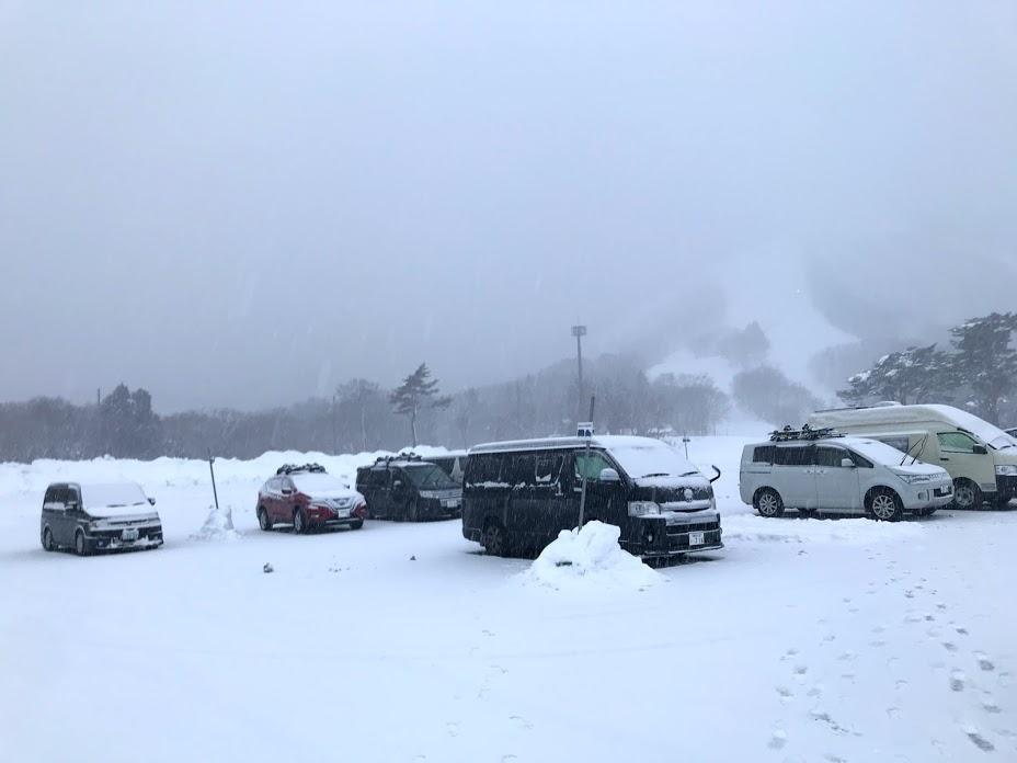駐車場の状況、駐車場からスキー場までのアクセス