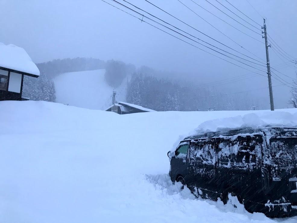 野沢温泉スキー場 第二駐車場:降雪量が多い時は雪かきが必要