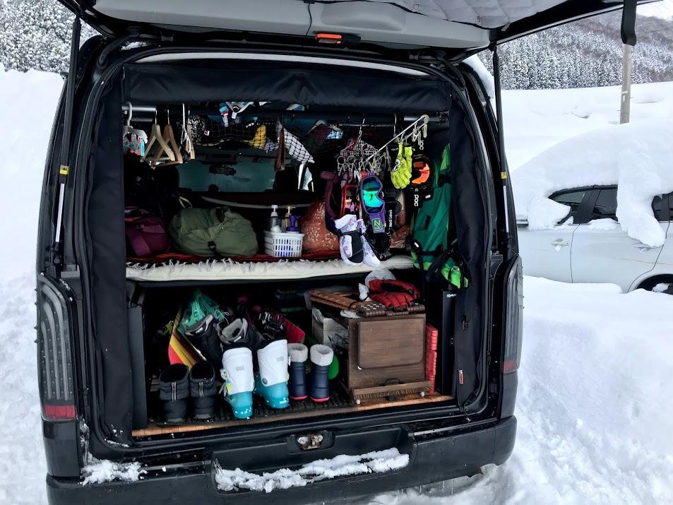 我が家の車のスキー車中泊仕様