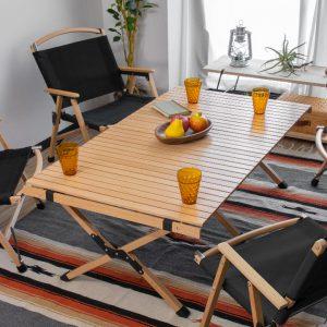 レジャーテーブル ロールテーブル 折りたたみ 幅 120cm 木製 ウッド
