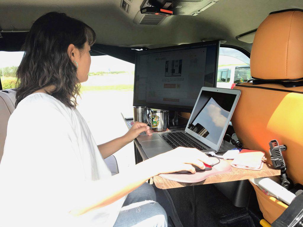 車でリモートワーク:モバイルオフィス