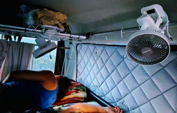 車中泊での扇風機おすすめはどれ!?熱帯夜のビーチ4連泊で実証!