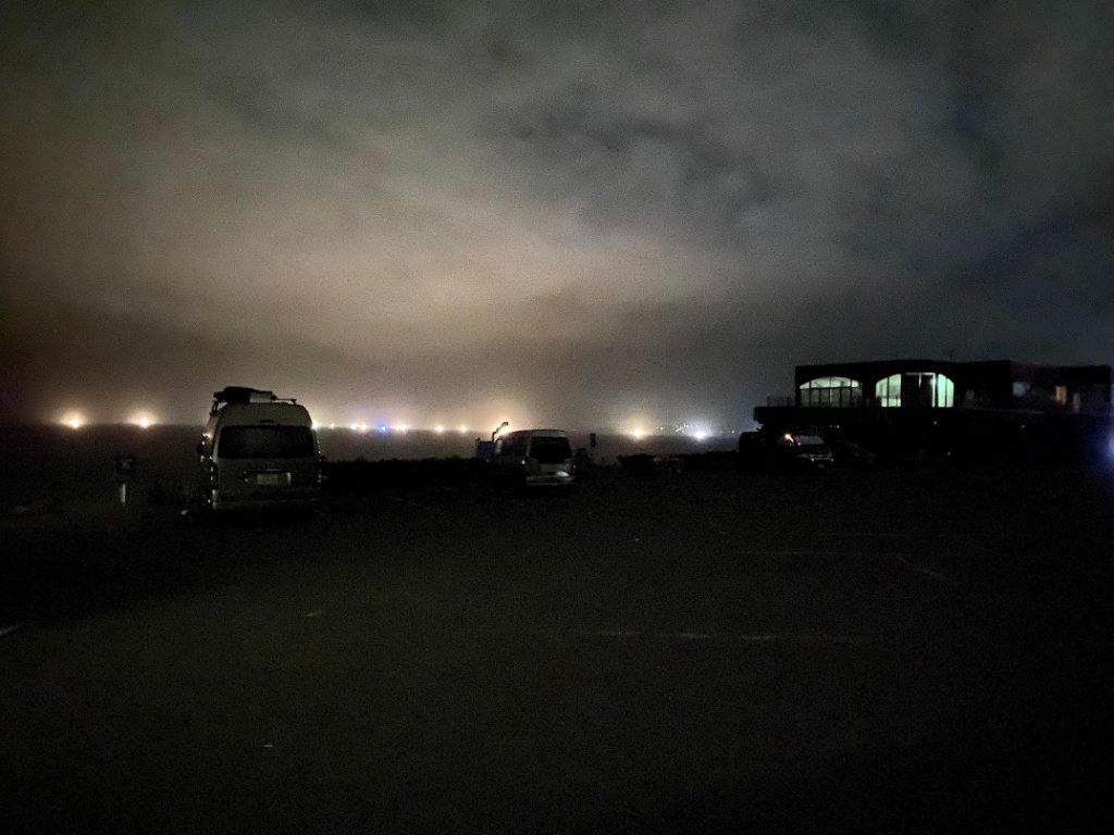「千畳敷駐車場」での車中泊の様子