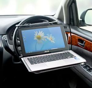 車載用ノートPCテーブル。自動車のハンドルやシートに取付けられる EEA-HBA-66