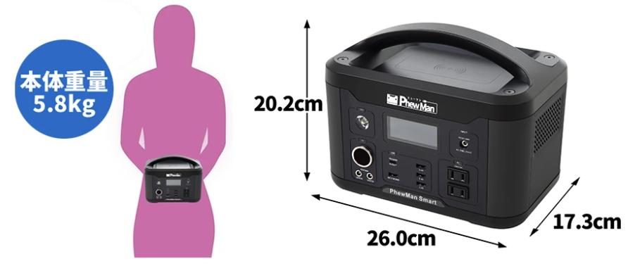 PhewManSmart500 ポータブル電源:サイズ、重量