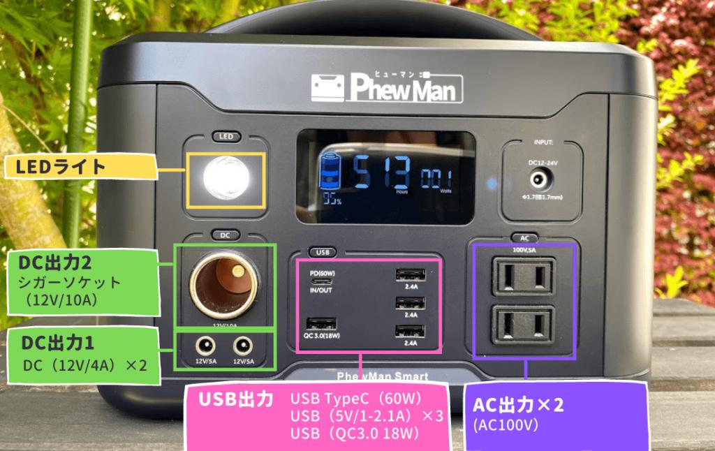 PhewManSmart500 ポータブル電源:入出力