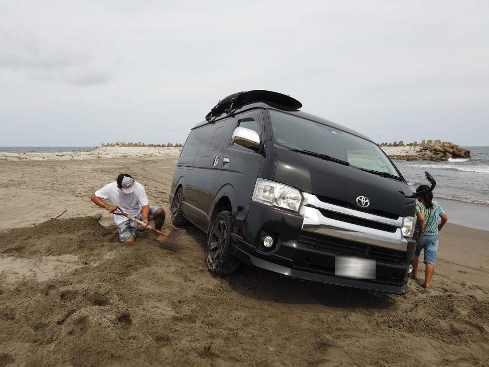 砂浜でスタックしてJAFに救助要請